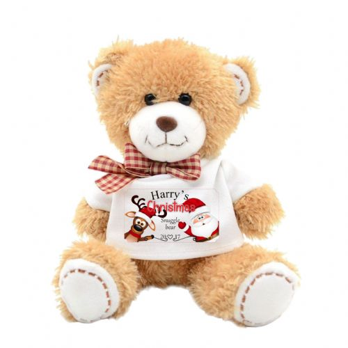 Personalised Christmas Santa & Reindeer Cute Teddy Bear N17